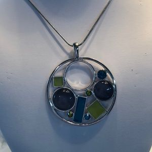 Jewelry - Multicolor Round Pendant Necklace, silver chain 10